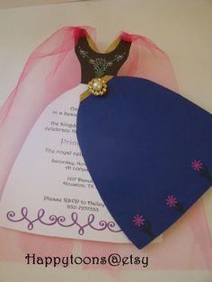 Diese liebenswert, gefroren Disney Prinzessin Party-Einladungen sind geschnitten und komplett von Hand und Feature schön gestaltete. Jede Einladung