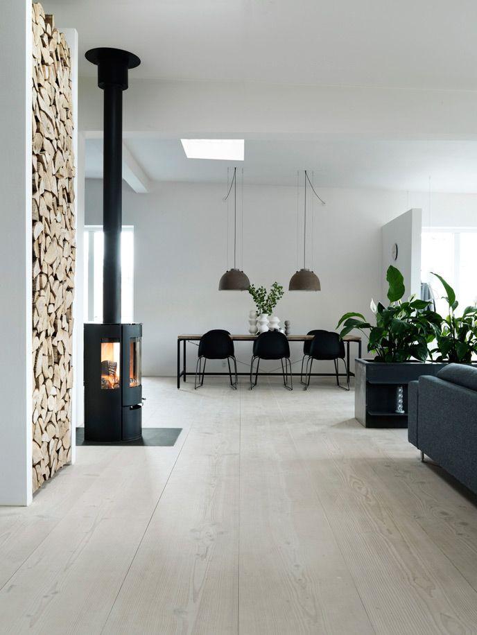 Douglas fir floor and wood burner