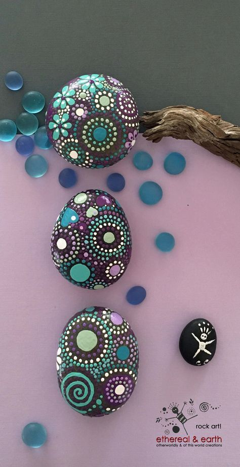 Hand Painted Rocks - Unique Gift - Natural Home Decor - purple gloaming Trio collection #28 - $29.00 - Mandala Inspired Design