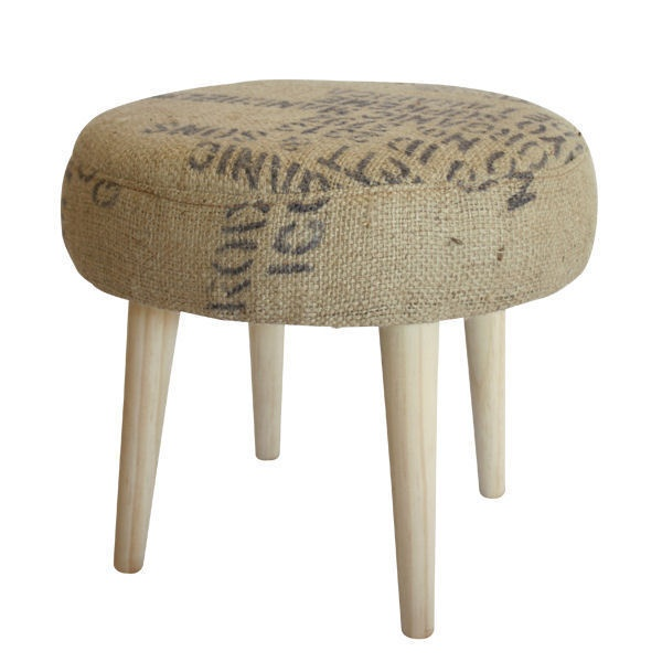 Funky, mid-century style footstool covered in recycled coffee sack sourced from local Kimberley, WA coffee roasters. www.downthatlittlelane.com.au   420mm diameter x 350mm high