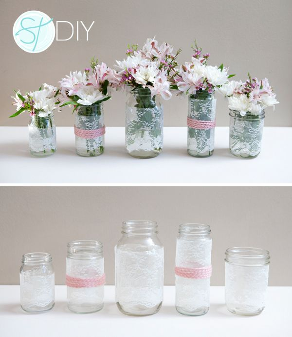 A really cheap way of creating special table centres for a vintage tea party. Cover plain old jam jars in lace and ribbon.