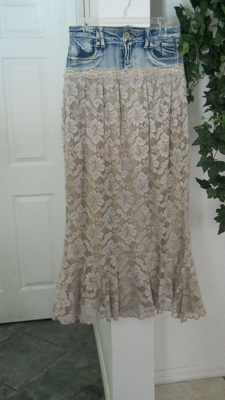 Odille  jean skirt vintage taupe lace mermaid hem French bohemian beige off white ruffled romantic  frou frou Renaissance Denim Couture. $92.00, via Etsy.