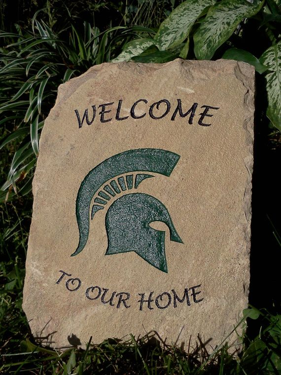 College Engraved Stone  Michigan State Spartans by ExpressiveStone, $49.00