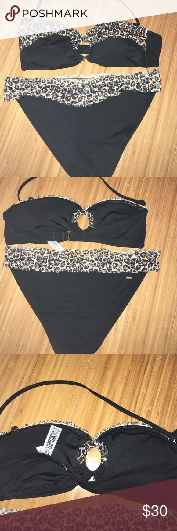 NWOT size small vs pink lace leopard bikini NWOT size small vs pink lace leopard bikini; halter strap is removable and can be a bandeau! Super cute and sexy! PINK Victoria's Secret Swim Bikinis