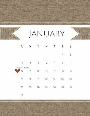 Free printable calendar for January 2016. Instant download. Personalize before you print.