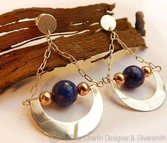 Earrings: silver, copper and lapispazuli.