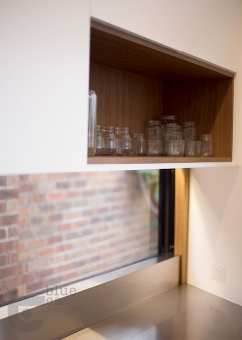 kitchen open shelf detail in timber veneer