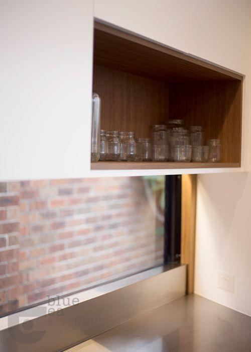 kitchen open shelf detail in timber veneer
