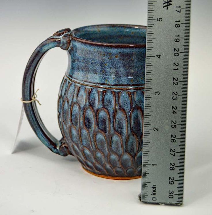 Handmade Pottery Mug w Saying - Blue / Brown   Gifted Pottery