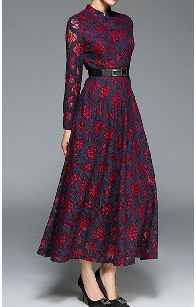 Marva is a classy long sleeve navy and red lace dress perfect for any formal event. It has a removable belt and hidden back zipper with a satin lining that comes almost to the full length. This amazing dress is going fast and in limited sizes.