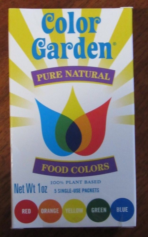 Color Garden Pure Natural Food Colors Net Wt 1 Oz 5 Single Use