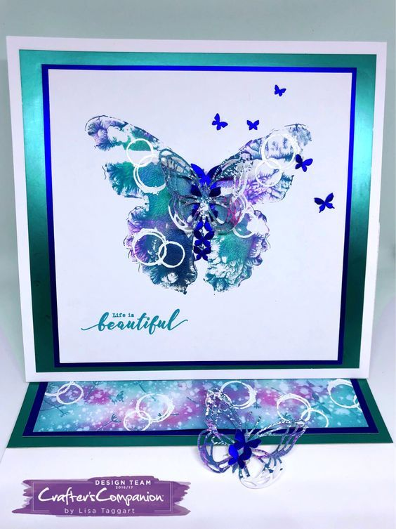 Easel card made using Sara Signature Flutterby Collection – 'Framed wings'; simplistic sentiments; 'Scripture' stamps ;waste from 'Arrangement if butterflies' die set; luxury Matt card. Designed by Lisa Taggart #crafterscompanion