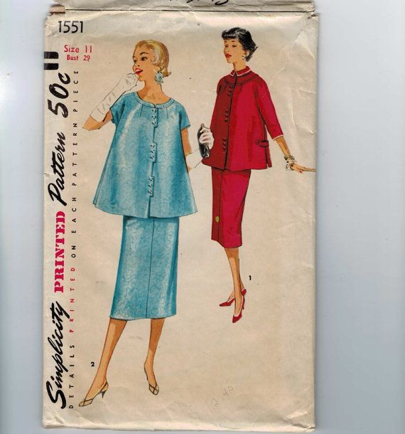 1950s Vintage Sewing Pattern Simplicity 1551 Junior Misses Maternity Two Piece Dress Suit Skirt Top Size 11 Bust 29 50s 1956