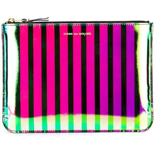 Comme Des Garçons Wallet Crazy Stripe Clutch ($149) ❤ liked on Polyvore featuring bags, handbags, clutches, multicolour, pink purse, multicolor handbags, colorful handbags, neon pink purse and colorful purses
