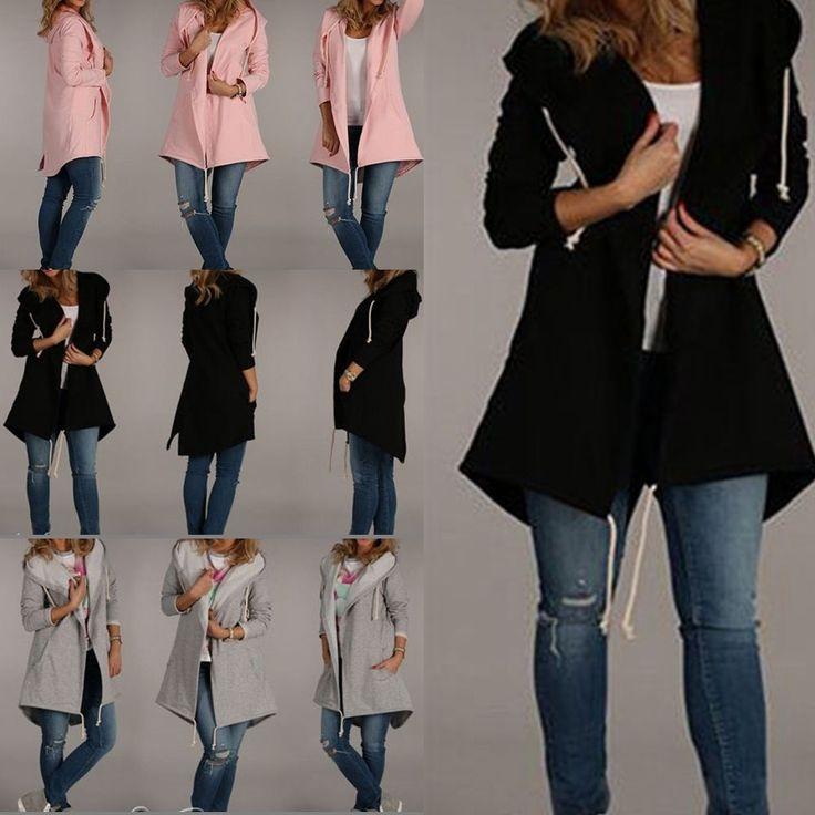 Uk Womens Ladies Hooded Coat Hoodie Sweater Jacket Cardigan Casual Loose Jumpers