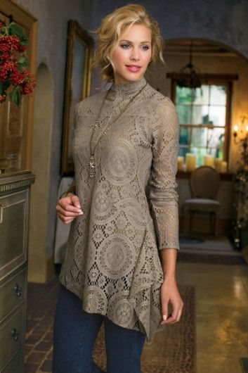 Elyese Top - Crocheted Lace Blouse - Soft Surroundings