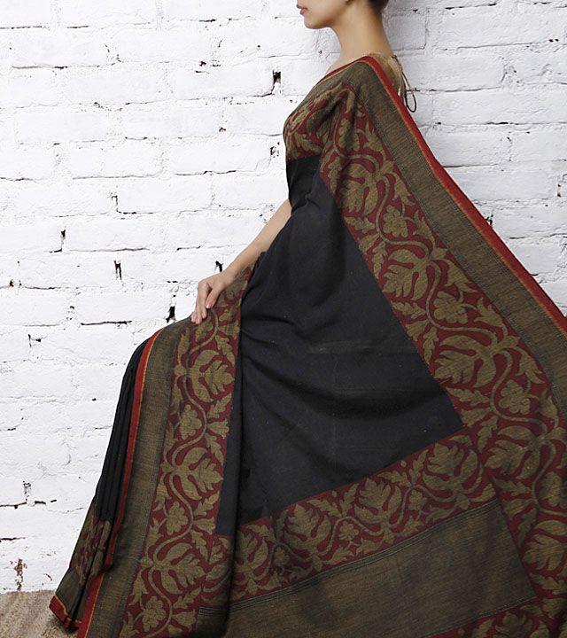 Black Handwoven Banarasi Silk Saree