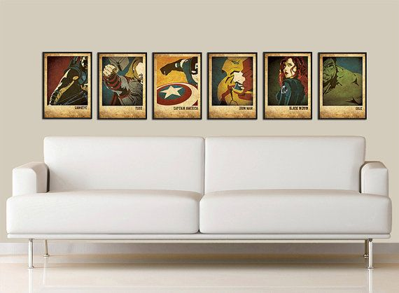 The Avengers inspired vintage movie poster set Version2 on Etsy, $42.00