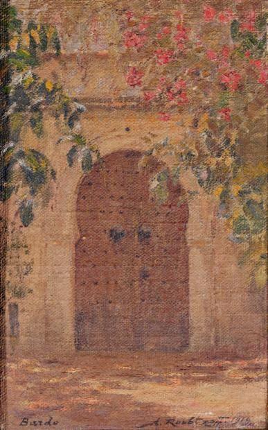 Alexandre ROUBTZOFF (1884-1949) La porte, Bardo 1919 Huile sur toile marouflée sur carton, signée et datée en bas à droite,