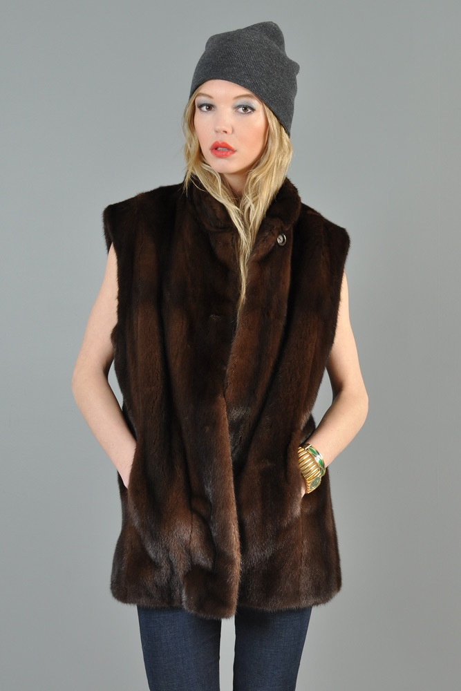 Nafa Vtg Lunaraine Mink Fur Mahogany Sable Ranch Male Coat Jacket gilet Vest