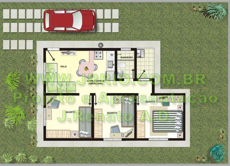 Plantas de casas com tres quartos 3d pesquisa google for Modelos de casas para construir