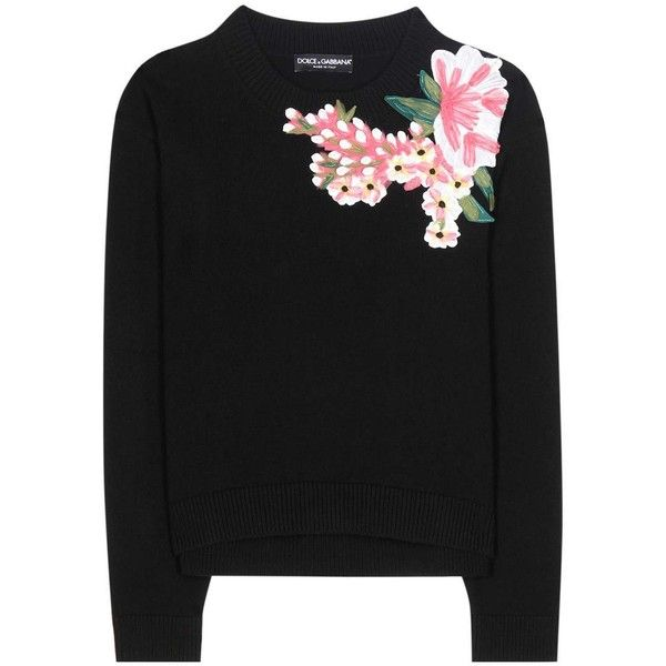 Dolce & Gabbana Appliqué Wool and Cashmere Sweater (£1,750) ❤ liked on Polyvore featuring tops, sweaters, shirts, black, cashmere tops, wool jumpers, cashmere sweater, cashmere jumpers and wool shirt