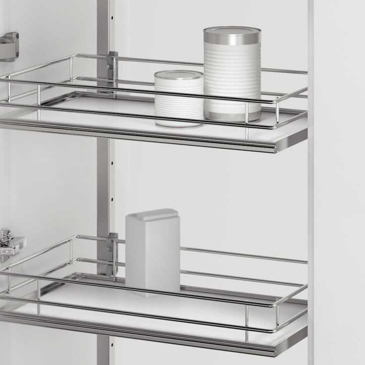 Love Vauth-Sagel's DUSA Pull Out Larder Unit. Available with three different basket options, this one is Premea - a solid base basket with chromed wire surrounds.