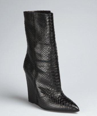 Giuseppe Zanotti black lizard embossed leather 'Kil' wedge boots   BLUEFLY up to 70% off designer brands