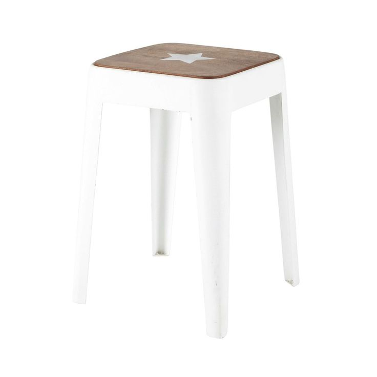 Metal And Mango Wood Stool In White