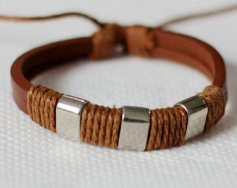 064 Men's brown leather bracelet Beads bracelet by mylenium77