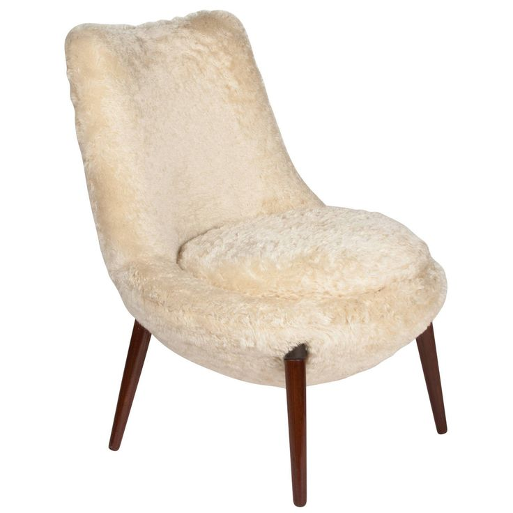 "Occasional Chair in ""Teddy Bear"" Mohair Fabric, French 1950s 