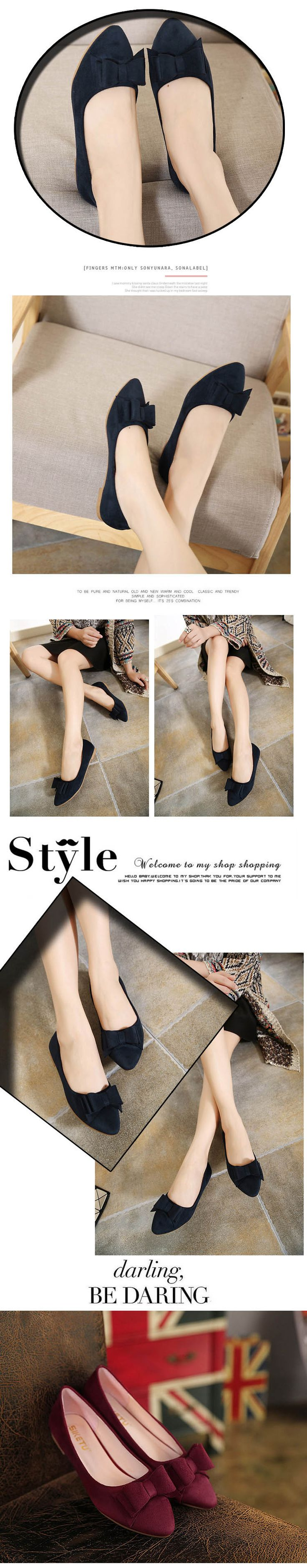 $13.50 -Women's Classic Pointy Toe Flat Shoes with Bowknot #flats #flatshoe #bowknot #omgnb