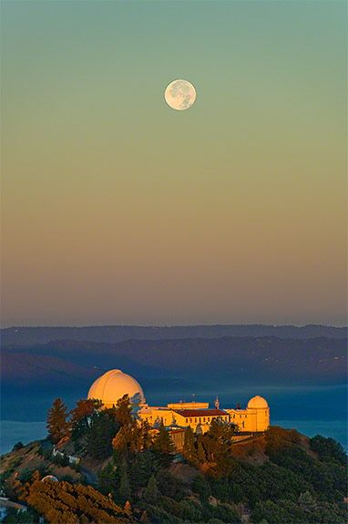 The Lick Observatory, in the Diablo Range just east of San Jose, California, on the summit of Mount Hamilton.  Operated by the University of California, it has an array of telescopes used largely for extrasolar planet discovery.  by Laurie Hatch.