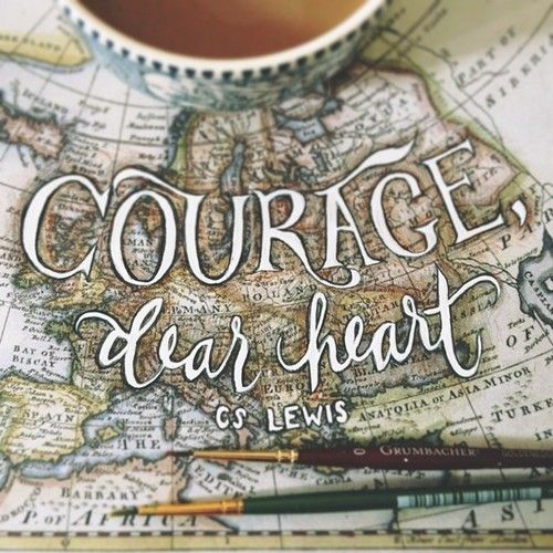 """""""Courage, dear heart."""" C.S. Lewis typography + old map + coffee."""