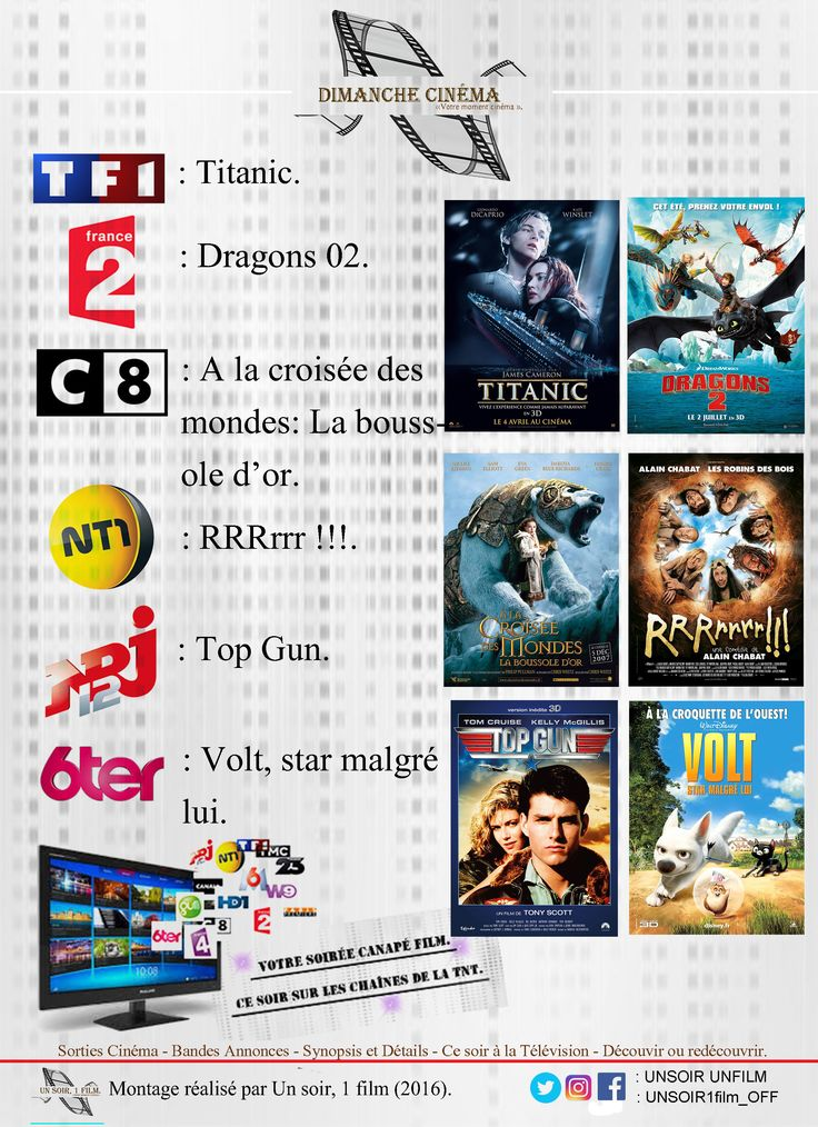 Votre soirée dimanche cinéma.  Quel sera votre programme TNT de ce soir ?   Retrouvez à 20hr50 sur les chaînes de la TNT:  - TF1, Titanic. Bande annonce: https://youtu.be/Quf4qIkD3KY  - France 02, Dragons 02. Bande annonce: https://youtu.be/oNbM4teFZ18  - C8, A la croisée des mondes: La boussole d'or. Bande annonce: https://youtu.be/scUqx3X9qR8  - TMC, Scooby-doo.  - NT1, RRRrrr !!!. Bande annonce: https://youtu.be/issqd1-zgSg  - NRJ12, Top Gun. Bande annonce: https://youtu.be/qAfbp3YX9F0…