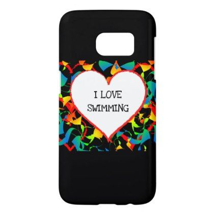 I Love Swimming Sports Editable Modern Abstract Samsung Galaxy S7 Case - heart gifts love hearts special diy