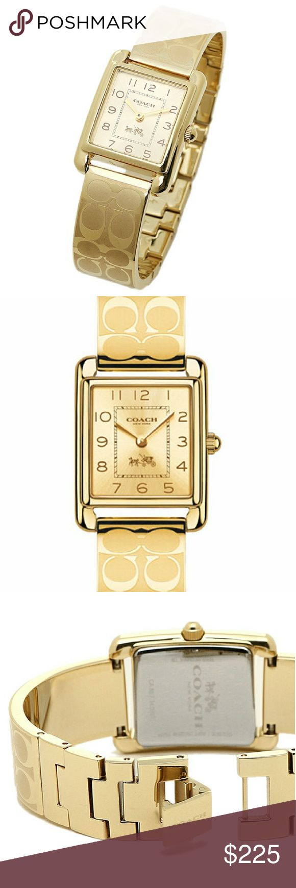 Gold Coach Watch This stylish Gold Coach watch has a signature pattern on the band that adds textural contrast to the golden glow of this classic design. Coach Accessories Watches