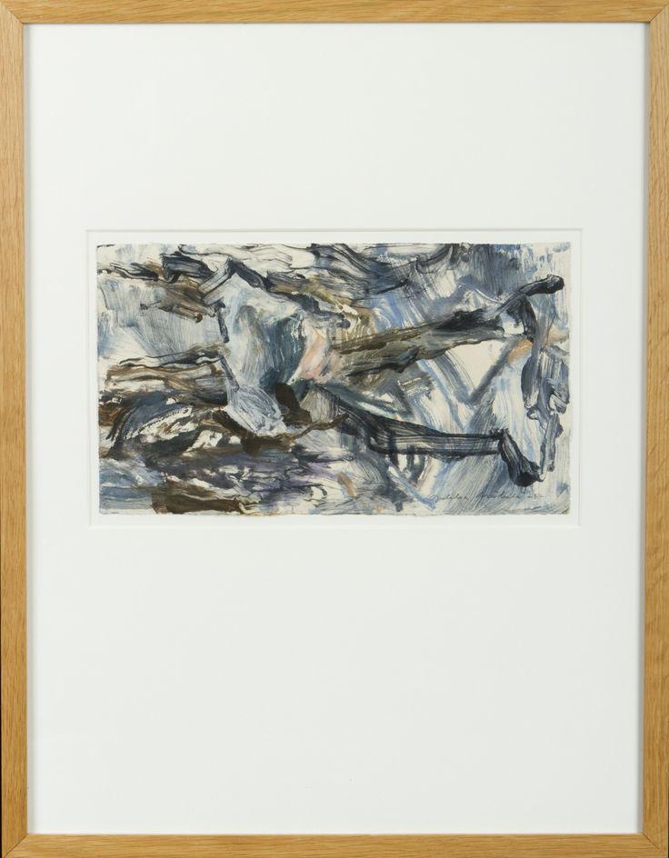 Jukka Mäkelä: sommitelma, 1987, sekatekniikka, 21x37 cm - Hagelstam A131