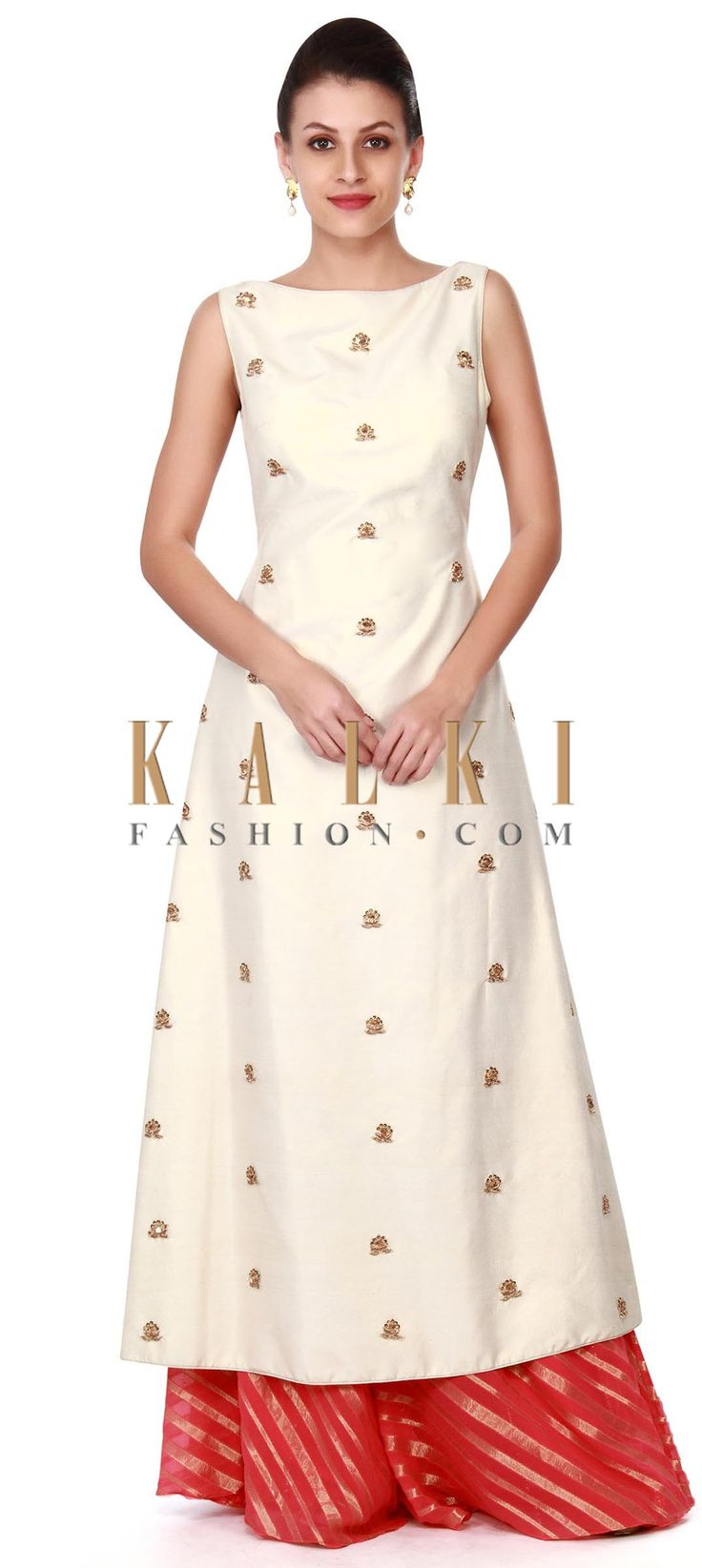 Buy this Cream straight suit in zardosi embroidered butti only on Kalki