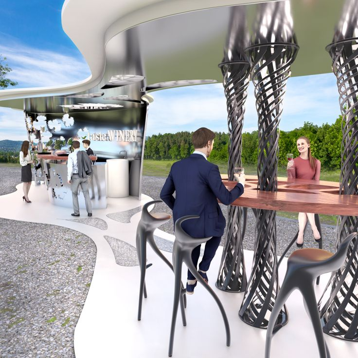 Bodega Haven  3d printed kiosk bar for wine tasting  by Peter Stasek Architects - Corporate Architecture