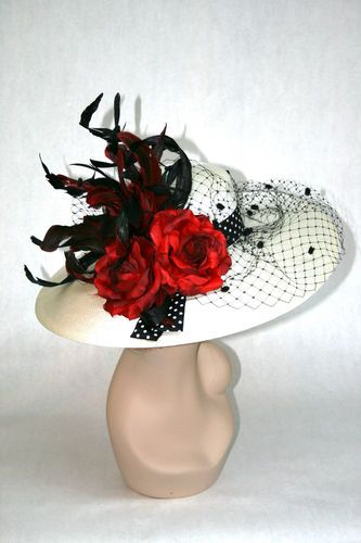 New Church Kentucky Derby Wide Brim Sun Hat Black Ivory Red Roses Wedding | eBay CLICK ON PHOTO TO PURCHASE