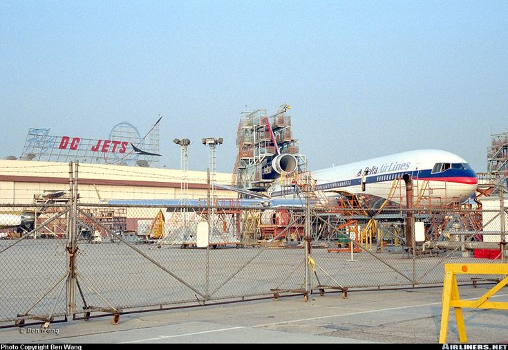 Delta Air Lines McDonnell Douglas MD-11 at the Long Beach, California plant during fitting out.