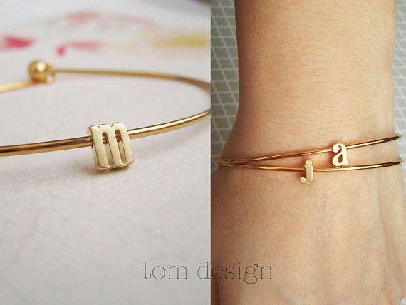 Tiny Gold Lowercase Initial Bangle Bracelet - Gold Letter Bracelet Custom Bridesmaid Gift Personalized Wedding Minimalist Monogram