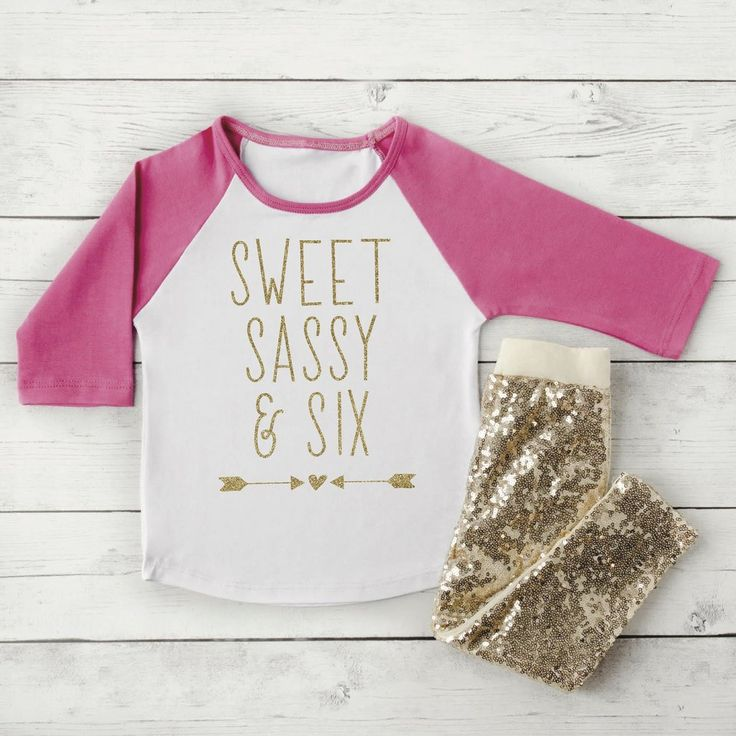 6 Year Old Birthday Outfit Pink Raglan and Gold Leggings Pink and Gold Birthday Outfit 6th Birthday Girl Outfit Six Year Old Shirt 244 #6_year_old_birthday #6_year_old_outfit #6t_gold_leggings