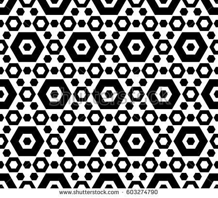Vector monochrome texture, black & white hexagonal geometric seamless pattern. Contrast abstract background with different sized hexagons, symmetric structure. Design for cover, digital, web, prints