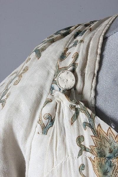 A printed muslin day dress, circa 1800-1810,