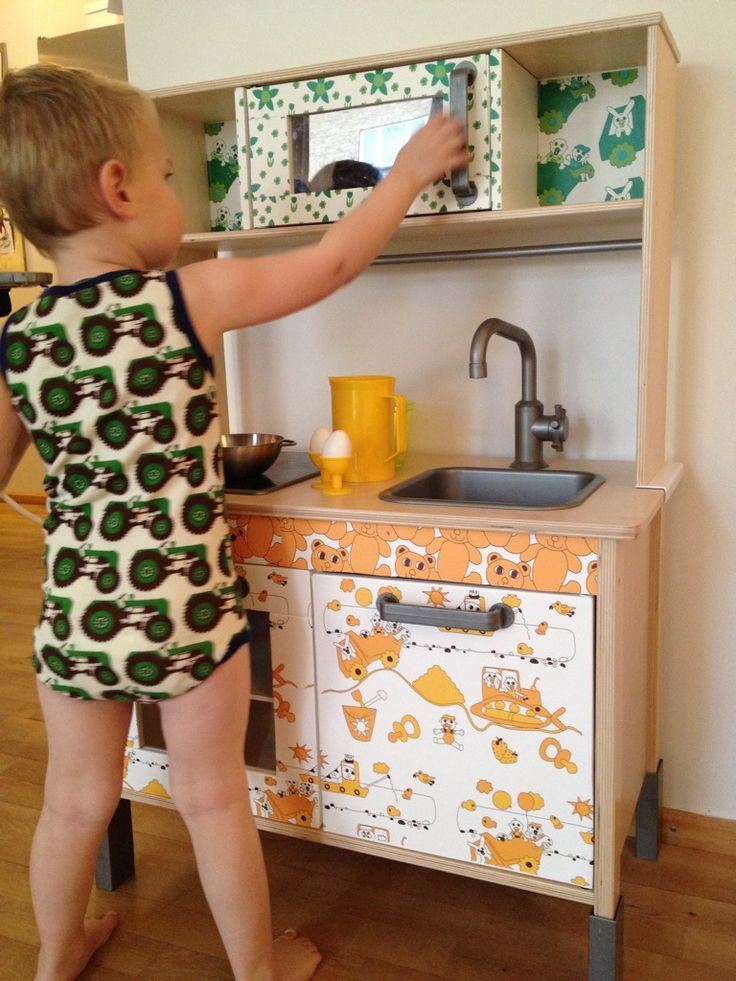 My sons kitchen made with wallpaper from Summerchild1973, Spoon flower.
