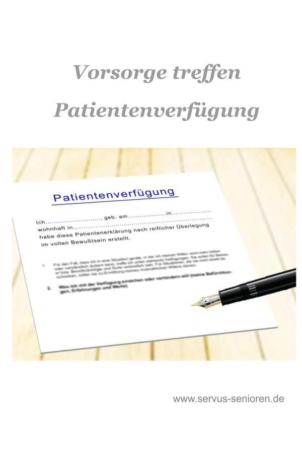 Die Patientenverfugung Vorsorge Treffen Servus Senioren Patientenverfugung Senioren Ratgeber Hilfsmittel Fur Senioren