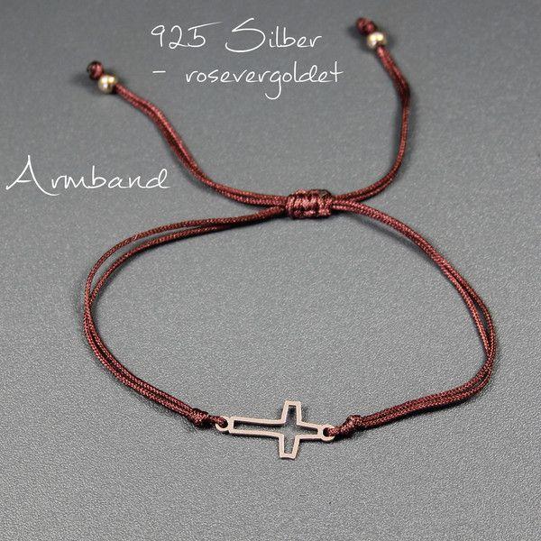 Goldarmbänder - ♥Armband - Kreuz, 925 Silber rosevergoldet - ein Designerstück von glashuepfer bei DaWanda