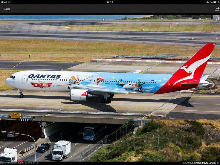 A Qantas B767-300 (planes special livery). At Sydney airport.